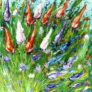 Tulipános rét szélben , Képzőművészet, Otthon & lakás, Festmény, Akril, Festészet, 24 x 30 cm-es vászonlap, akril festés, festőkés technikával.\n\nTavaszi - Húsvéti hangulatban, festőké..., Meska