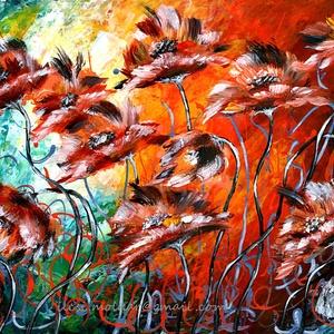 Színes virágözön , Képzőművészet, Otthon & lakás, Festmény, Akril, Festészet, 40 x 30 cm-es alapon akril festés, festőkéssel és ecsetekkel.\n\nEgyedi ötlet és kivitelezés, az új tu..., Meska