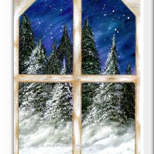 Havas, szobában ..., Képzőművészet, Otthon & lakás, Festmény, Akril, Festészet, 30 x 40 cm-es vászonfedett faroston akril festés.\n\nTéli hangulatú festés, a szoba ablakából, kifelé ..., Meska