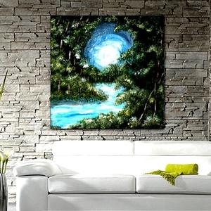 Fehér Holdas éj , Képzőművészet, Otthon & lakás, Festmény, Festmény vegyes technika, Festészet, Saját ötletű,  akrillal készült  festményem 50 x 40 cm-es vakrámára feszített vászonra készült nyoma..., Meska