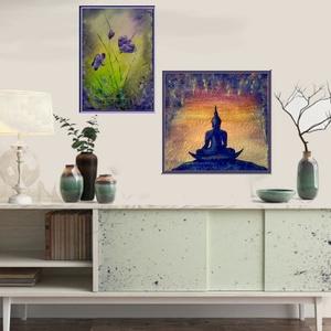 Lila-pasztell virágos , Képzőművészet, Otthon & lakás, Festmény, Akril, Festészet, 25 x 35 cm-es Gesso alapozó-és textúra pasztával kezelt bútorlapon akril festés :) \n\nSaját ötlet, ny..., Meska