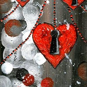 Szívek gömbökkel , Képzőművészet, Otthon & lakás, Festmény, Akril, Szerelmeseknek, Ünnepi dekoráció, Dekoráció, Festészet, 15 x 33 cm x 2 cm - es falap) akril festés, lakk fedéssel. \n\nCímkék: festmény, akril, absztrakt, han..., Meska