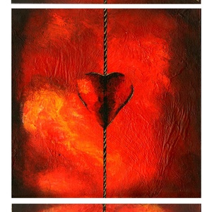 Szíveim , Otthon & lakás, Szerelmeseknek, Ünnepi dekoráció, Dekoráció, Képzőművészet, Festmény, Akril, 3 db 20 x 20 cm-es faroston akril festés, ecset használat. A 3 kicsi kép alkot egy képet, a keretezé..., Meska