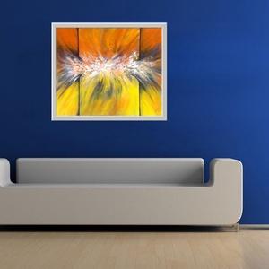 Sárga absztrakt -  20 % árkedvezmény 2019.július 1-től, Otthon & lakás, Képzőművészet, Festmény, Akril, 47 x 39 cm-es Gesso alapozású bútorlapon akril festés, festőkéssel.  Design - lakásdísz, a keret dig..., Meska