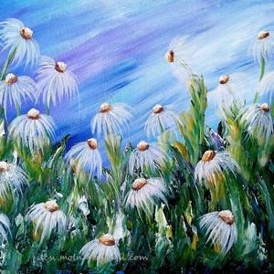 Pihe-puha rétben , Akril, Festmény, Művészet, Festészet, 50 x 37 cm-es Gesso alapozott faroston akril festés, festőkéssel, ecsetekkel.\nSzíneset, virágos rét,..., Meska
