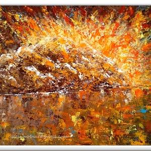 Ébred a fény 2., Otthon & lakás, Képzőművészet, Festmény, Akril, 60 x 40 cm-es bútorlapon akril festmény, festőkéssel, Gesso alapozás után, és lakk fedőréteg előtt :..., Meska