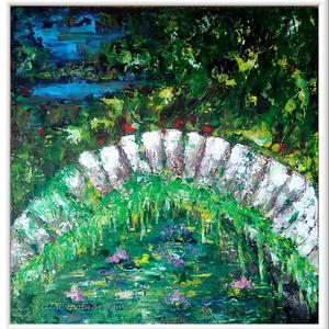 Hidas táj 2., Képzőművészet, Otthon & lakás, Festmény, Akril, Festészet, 47 x 45 cm-es faroston Gesso alap, akril festés,  festőkéssel.\n\nCímkék: festmény, akril, táj, növény..., Meska