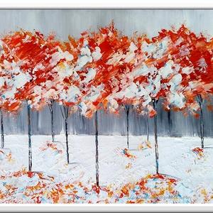 Fantázia fák fehérben , Képzőművészet, Otthon & lakás, Festmény, Akril, Festészet, 60 x 40 cm-es ( 1,8 cm vastag ) bútorlapra készült akril festés, festőkéssel.\n\n\nEgyedi hangulat, elk..., Meska