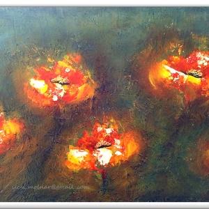 Öt virágos , Otthon & lakás, Képzőművészet, Festmény, Akril, 37 x 50 cm-es OSB lapon Gesso alap, akril festés, festőkéssel, lakk fedőréteget kapott a festmény.  ..., Meska