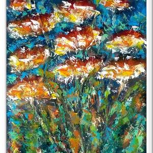 Virágok esőben -  20 % árkedvezmény 2019.július 1-től, Otthon & lakás, Képzőművészet, Festmény, Akril,   Legújabb festésem egy színes hangulatkép, 38 x 53 cm-es faroston, akril festés, festőkéssel. Címké..., Meska