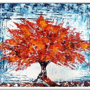 Fás fantázia , Képzőművészet, Otthon & lakás, Festmény, Akril, Festészet, 30 x 25 cm-es ( 1,8 cm vastag ) bútorlapon  akril festés, Gessó alapon, festőkés technikával.\n\nEgyed..., Meska