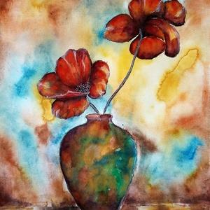 Két szál virágos ( Nyári akció :  2019. július 1-től minden festésem 20 % -os kedvezménnyel lehet a Tiéd ! ) , Képzőművészet, Otthon & lakás, Festmény, Akvarell, Festészet, 30 x 40 cm-es , 250-es Canson akvarell lapon akvarell festés.\n\nAz eredeti festést adom, nem nyomatot..., Meska