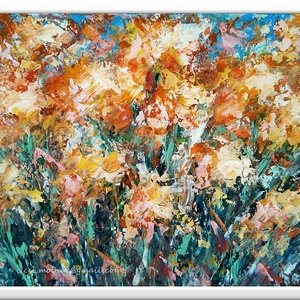 Ragyogó rét  - Nyári akció :  2019. július 1-től minden festésem 10 % -os kedvezménnyel lehet a Tiéd ! , Képzőművészet, Otthon & lakás, Festmény, Akril, Festészet, 40 x 29 cm-es ( 1,8 cm vastag ) bútorlapon Gesso alapozás után  akril festés, festőkéssel, vízbázisú..., Meska