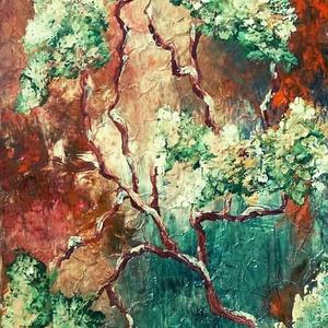 Sejtelmes erdős 1., Képzőművészet, Otthon & lakás, Festmény, Akril, Festészet, 20 x 30 cm-es feszített vásznon akril festés, festőkéssel és lakk fedőréteggel.\n\nCímkék: festmény, a..., Meska