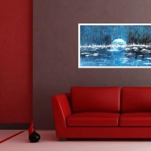 Nyári város Holdlenyugvása , Otthon & lakás, Képzőművészet, Festmény, Akril, 72 x 40 cm-es bútorlapon akril festés, lakk fedőréteg.  A festmény érdekessége, hogy eszközöket most..., Meska