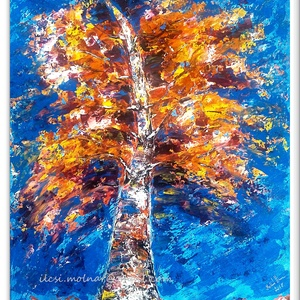 Ősz a téli égig ér - Nyári akció :  2019. július 1-től minden festésem 20 % -os kedvezménnyel lehet a Tiéd ! , Képzőművészet, Otthon & lakás, Festmény, Akril, Festészet, 42*52 cm-es faroston akril festés festôkéssel.\nÉvszakok jönnek mennek, az útjuk meg tele színekkel é..., Meska