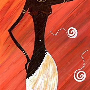 Termékenység - Feketén Afrika sorozatból  , Akril, Festmény, Művészet, Festészet, 23 x 56 cm -es alapozott farostra készült  akril festmény, ecset eszközzel.\n\nEgyedi színben és hangu..., Meska