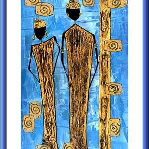 Kő - gazdagok  ( Feketén Afrika sorozatból )  -  20 % árkedvezmény 2019.július 1-től, Akril, Festmény, Művészet, Festészet, 25 x 40 cm-es felületkezelt  farostra készült  akril festmény, festőkés-ecset eszközökkel.\n\nPicit má..., Meska