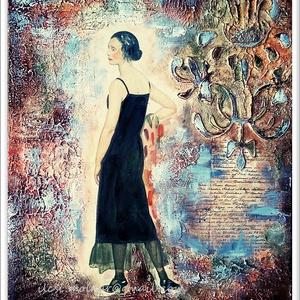 Hölgy feketében , Otthon & lakás, Képzőművészet, Festmény, Akril, Festmény vegyes technika, 25,5 x 29 cm-es farostra készült akril anyagú kézi festés festőkéssel, gesso alapon, amit most kombi..., Meska