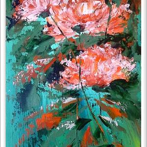 Három szál virágos , Képzőművészet, Otthon & lakás, Festmény, Akril, Festészet, 54 x 23 cm-es faroston akril festés Gesso alapon , festőkés eszközzel. A festmény lakk fedőréteget i..., Meska