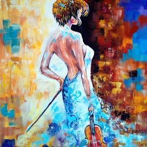 """Csajszi hegedűvel - Nyári akció :  2019. július 1-től minden festésem 20 % -os kedvezménnyel lehet a Tiéd ! , Otthon & lakás, Képzőművészet, Festmény, Akril, """" Csajszi hegedűvel """"  30 x 40 cm-es feszített vásznon akril festés festőkéssel.  Referencia anyagot..., Meska"""