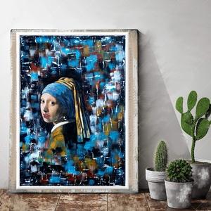"""Lány gyöngy fülbevalóval , Képzőművészet, Otthon & lakás, Festmény, Festmény vegyes technika, Decoupage, transzfer és szalvétatechnika, Festészet, \"""" Lány gyöngy fülbevalóval \""""\n\nJohannes Vermeer (1632-1675) - The Girl With The Pearl Earring festmén..., Meska"""