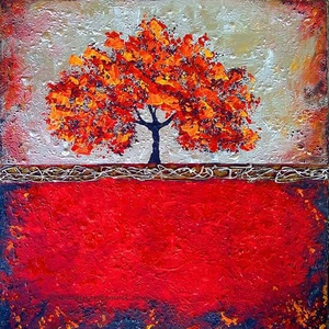 Piros absztrakt, Képzőművészet, Otthon & lakás, Festmény, Akril, Festészet, 52*52 cm-es OSB lapon egyedi hangulatú akril festés festőkéssel.\n\nSzép design eleme, dísze lehet a s..., Meska