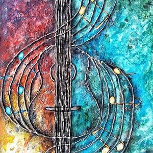 Adj hangot - zene boga , Otthon & lakás, Képzőművészet, Festmény, Akril, 43 x 64 cm-es OSB lap ( 1 cm vastag ) , gesso alap, textúrpaszta, akril festék, festőkés eszköz segí..., Meska