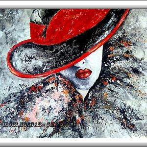 Díva vörösben , Képzőművészet, Otthon & lakás, Festmény, Akril, Festészet, 63 x 50 cm-es OSB lapon gesso alapozás után  akril festés, festőkéssel.\n\nCímkék: festmény, akril, po..., Meska