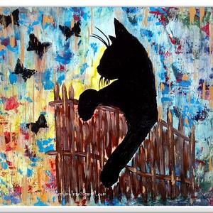 Fekete macskaság , Képzőművészet, Otthon & lakás, Festmény, Akril, Festészet, 30 x 36 cm-es ( 1,8 cm vastag ) bútorlapon gesso alap, akril festés, festőkéssel, lakk fedőréteggel...., Meska