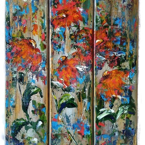 Virágba borulva , Otthon & lakás, Képzőművészet, Festmény, Akril, 31 x 50 cm-es rusztikus falécekből készült anyagra akrillal festett virágözön :).  A faanyagot én ké..., Meska