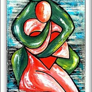 Öledben, Képzőművészet, Otthon & lakás, Festmény, Akril, Festészet, 23*47 cm-es bútorlapon akril festés, ecsetekkel.\nEgyszerű vonalak, formák...szeretlek, ezt mondja.\n\n..., Meska