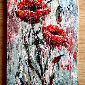 Erkély-fán, virágos , Otthon & lakás, Képzőművészet, Festmény, Akril, Festészet, Famegmunkálás, 25 x 83 cm-es felületkezelt falapon akril festés, festőkéssel, fakezelés, alapozás után, majd a végé..., Meska