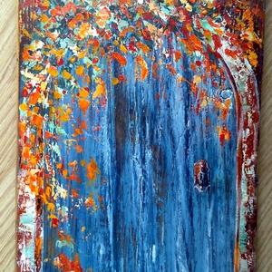 Kopott- rusztikus mediterrán , Akril, Festmény, Művészet, Famegmunkálás, Festészet, Régi fára festés ismét, megszerettem ezt az anyagot, szép a textúrája  :) \n\n25 x 47 cm-es felületkez..., Meska