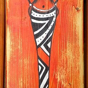 Afrikai absztrakt , Otthon & lakás, Képzőművészet, Festmény, Akril, Famegmunkálás, Festészet, 14 x 69 cm-es felületkezelt falapon akril festés ecsetekkel , lakk fedőréteg védi a festményt :) .\n\n..., Meska