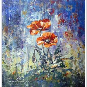 Két szál a fűben , Otthon & lakás, Képzőművészet, Festmény, Akril, 36 x 37 cm-es békebelei farost hátoldalán akril festés festőkéssel, sok sok sok színnel, fénnyel, és..., Meska