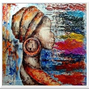 Színes-világ lány , Otthon & lakás, Képzőművészet, Festmény, Akril, Festészet, 37*36 cm-es faroston, gesso alap, akril festés, festőkés eszközzel\n\nSzínezzük ki a világot :) \n\nA fe..., Meska