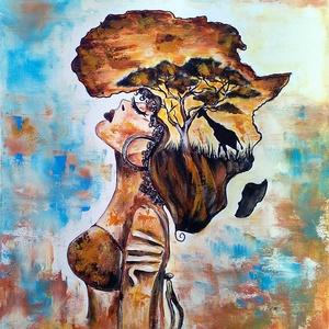 Afrika lány , Otthon & lakás, Képzőművészet, Festmény, Akril, Festészet, 40 x 50 cm-es, feszített vászonra ( Munkácsy vászon )  készült akril festés, afrika színei, hangulat..., Meska
