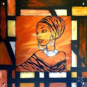 Afrikás  lány absztrakt , Otthon & lakás, Képzőművészet, Festmény, Akril, Festészet, 55 x 55 x 10 cm-es farostlapokra akril festés, Afrika színeivel, design-modern megoldással.\n\nEgyedi ..., Meska