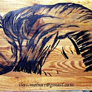 Jó éjt ! , Otthon & lakás, Képzőművészet, Festmény, Akril, 25 x 60 cm-es, újrahasznosított fára készült alkotás, markerrel és akrillal, lenolaj fixel.  A fa al..., Meska