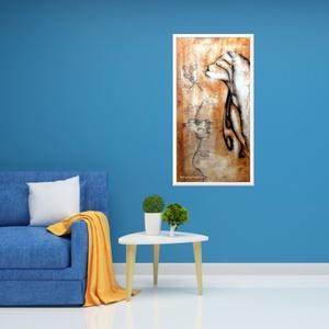 Csipkelány, Otthon & lakás, Képzőművészet, Festmény, Akril, Festészet, 30 x 56 cm-es falapon akril festésem, gesso textúr anyagot is használtam.\n\nFinom, elegáns hangulat, ..., Meska