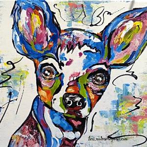 Színes eb 3., Otthon & lakás, Képzőművészet, Festmény, Akril, Festészet, 30 x 25 cm-es feszített vászonra készült akril festésem, festőkéssel, akril anyaggal.\n\nKutyusimádókn..., Meska