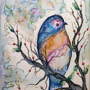 Színes madárka, Otthon & lakás, Képzőművészet, Festmény, Festmény vegyes technika, Festészet, 25 x 30 cm-es feszített vásznon filc/tus rajz illetve festés.\n\nSzínes madárka, színes hangulat, egys..., Meska