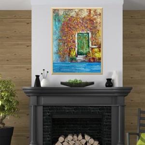 Mediterran 5., Otthon & lakás, Képzőművészet, Festmény, Akril, Festészet, 47 x 67 cm-es gessoval felületkezelt és textúrázott faroston akril festés festőkéssel,  lakk fixel z..., Meska