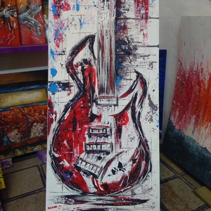 Gitárság , Otthon & lakás, Képzőművészet, Festmény, Akril, Festészet, 47 x 78 cm-es  újrahasznosított bútorlapon gesso alap, akril festés festőkéssel és ecsetekkel.\n\nZene..., Meska