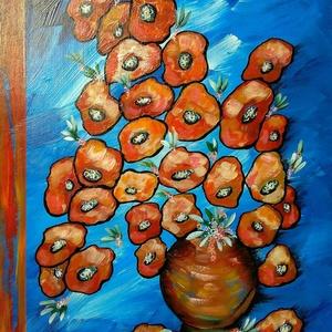 Narancsos kék virágos , Otthon & lakás, Képzőművészet, Festmény, Akril, Festészet, 50 x 76 cm-es régi konyhabútor fa polcának felhasználásával készült akril festés, ecsetekkel és fest..., Meska