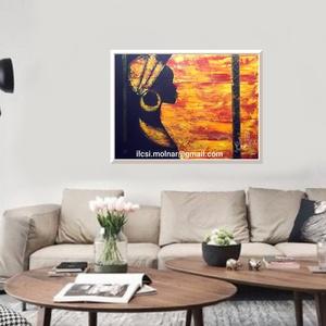 """Afrikai nő ékesítve 2., Akril, Festmény, Művészet, Festészet, \"""" Afrikai nő ékesítve 2. \""""\n\n52 x 45 cm-es faroston akril festés.\n\nAfrikai, meleg hangulat, szép deko..., Meska"""