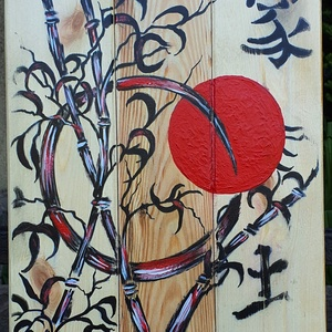 Szimbólumok , Akril, Festmény, Művészet, Famegmunkálás, Festészet, Újrahasznosított, régi  falécekre festett szimbólumok, formák, színek, hangulat :) \n\nA faléceket csi..., Meska