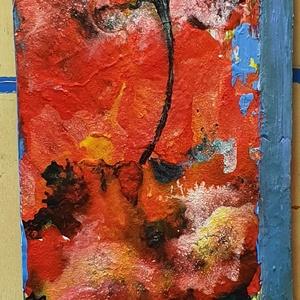 3 szál piros , Művészet, Festmény, Akril, Famegmunkálás, Festészet, Újrahasznosított, régi falapon akril festés, festőkéssel.\n\nSaját ötlet és eredeti kézi festés egy ré..., Meska