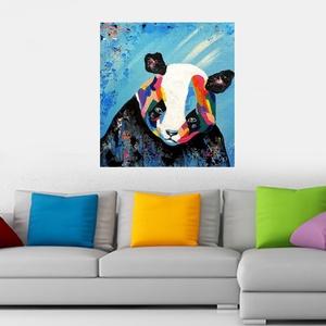 Panduska , Otthon & lakás, Képzőművészet, Festmény, Akril, Gyerek & játék, Festészet, Színes panda, picit másképpen :) \n\n43 x 42 cm-es  békebeli farostra készült festésem akril festékkel..., Meska